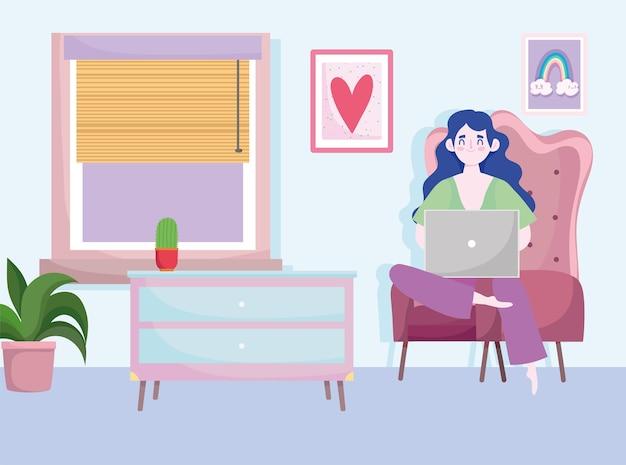 Thuiskantoor werkruimte, freelancer vrouw werkt achter een laptop, kamer stoel tafel planten en raam.