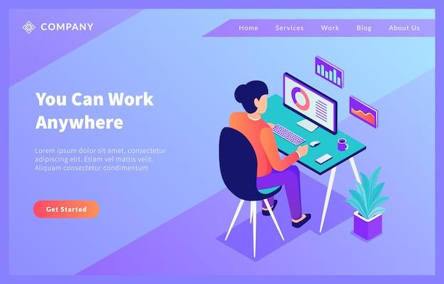 Thuiskantoor werkt overal voor websitesjabloon of startpagina