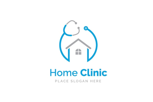 Thuiskliniek logo ontwerp met stethoscoop icoon.