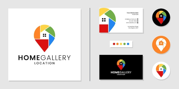 Thuislocatie logo en visitekaartje ontwerpsjabloon inspiratie
