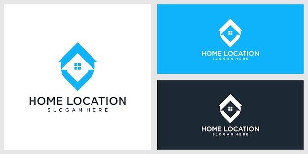 Thuislocatie logo ontwerp premium