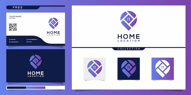 Thuislocatie met modern stijllogo en ontwerpsjabloon voor visitekaartjes