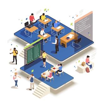 Thuisonderwijs isometrisch concept met elektronische monitoren en twee klaslokalen met studenten en docenten