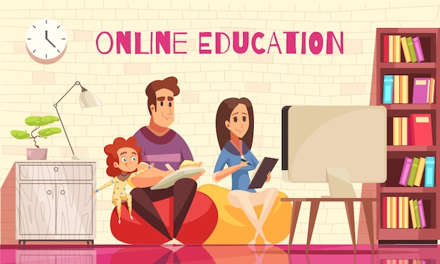 Thuisonderwijs op afstand leren voor gezin met kinderen cartoon samenstelling met jonge ouders achter computer