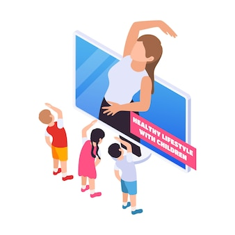 Thuisonderwijsillustratie met kinderen die online sport doen met isometrische leraar