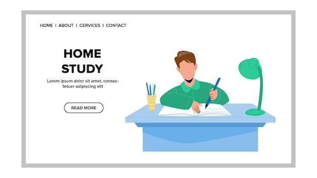 Thuisstudie en huiswerk doen leerling jongen vector. schooljongen schrijfoefening in notebook met potlood, thuisstudie onderwijs. karakter kind heeft educatieve tijd web flat cartoon afbeelding
