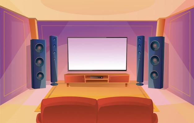 Thuistheater in cartoon-stijl met grote tv