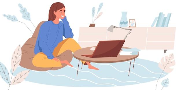 Thuiswerken concept in plat ontwerp. vrouw werkt op afstand op laptop die aan de stoel van de tas zit. freelancer die taken online vanuit huis doet. freelance of afstandswerk mensenscène. vector illustratie