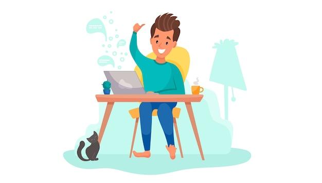 Thuiswerken, online onderwijs of op afstand werken op afstand. man freelancer werkt in zijn kamer.