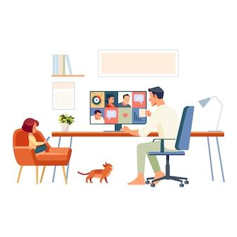 Thuiswerken. vader en schoolmeisje werken vanuit huis, via internet en e-learning.