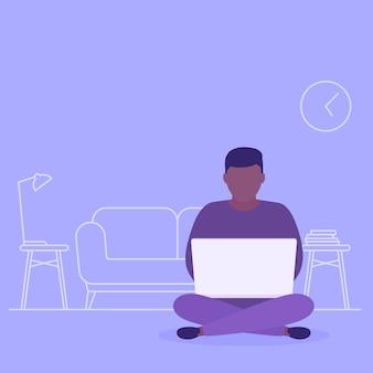 Thuiswerkend, man met laptop zittend in lotus houding,