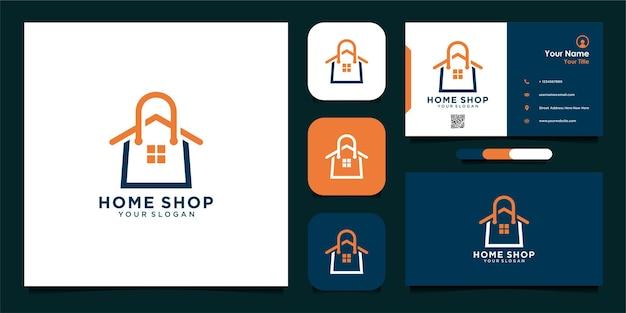 Thuiswinkel logo-ontwerp met tas en visitekaartje