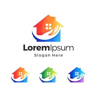 Thuiszorg gradiënt logo premium sjabloon