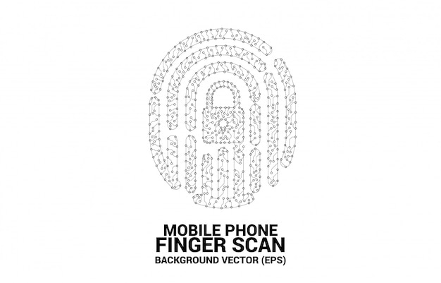 Thumbprint icon from dot and line circuit board style.