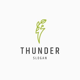 Thunder blad natuur eco energie logo pictogram ontwerp platte sjabloon vectorillustratie