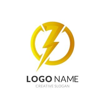 Thunder-logo en cirkelontwerpcombinatie, kracht- en energielogo's