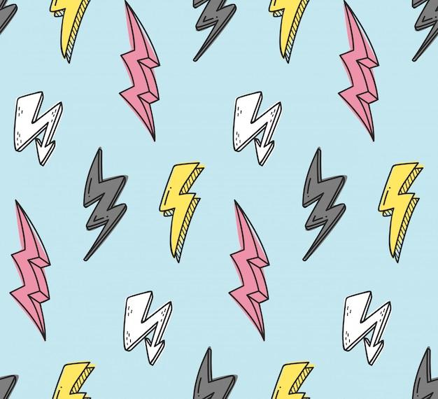 Thunder naadloos patroon op blauw