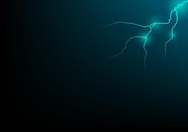 Thunder storm vector realistische blikseminslag in blauwe of neon groene toon op zwarte achtergrond, magie en heldere elektriciteitseffecten.