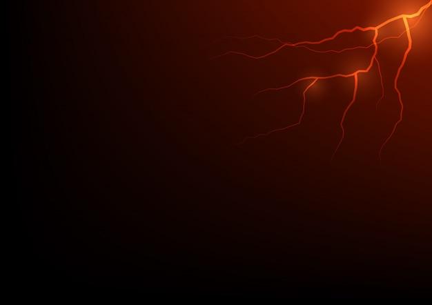 Thunder storm vector realistische blikseminslag in rode of oranje toon op zwarte achtergrond, magie en heldere elektriciteitseffecten.