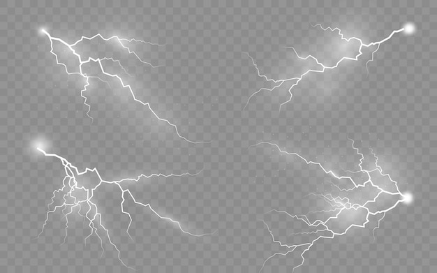 Thunder storm vector realistische blikseminslag op transparante achtergrond. reeks geïsoleerde realistische bliksemschichten met transparantie.