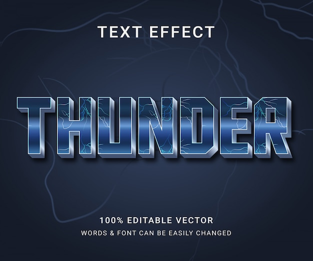 Thunder volledig bewerkbaar teksteffect met trendy stijl