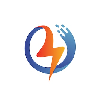 Thunder with wave shape-logo