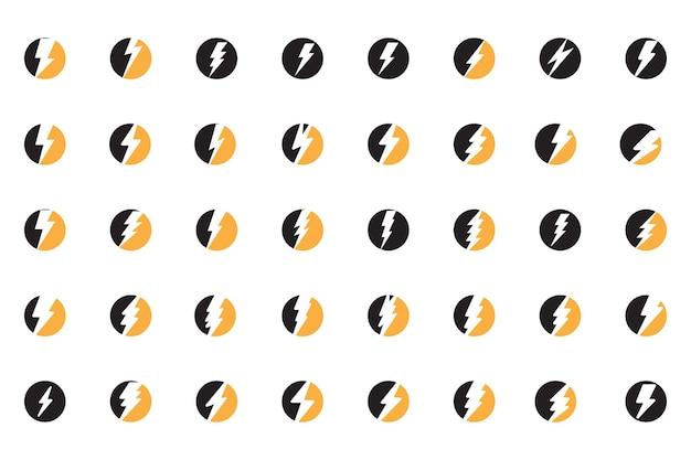 Thunderbolt flits bliksem logo set