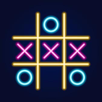 Tic tac toe game, neon lineair overzichtspictogram