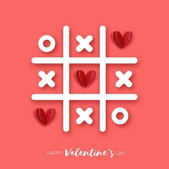 Tic tac toe-spel met rode harten