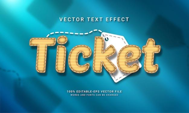 Ticket bewerkbaar teksteffect met vakantiethema's