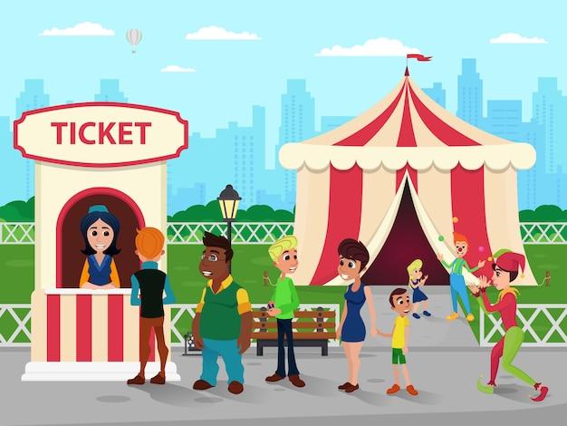 Ticket booth bij circus, verkoper en mensenwachtrij