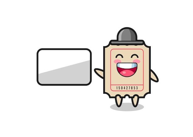 Ticket cartoon afbeelding doet een presentatie, schattig stijlontwerp voor t-shirt, sticker, logo-element