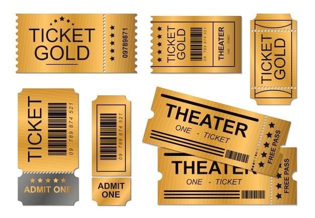 Ticket coupon gouden realistische ontwerp illustratie, evenement bioscoop theater zakelijke sjabloon, sjabloonontwerp eenvoudig concept toestemming achtergrond