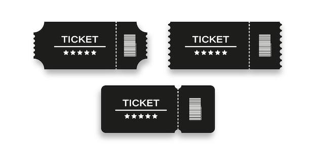Ticket coupon vector evenement show uitnodiging ontwerp, toegeven badge voor bioscoop of concert met vijf sterren geïsoleerde mock up illustratie.