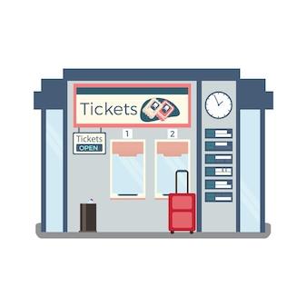 Ticket kantoorgebouw met twee ramen klok schema koffer plat
