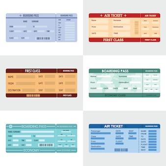 Ticket luchtvaartlijn banner horizontale set