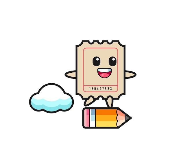 Ticket mascotte illustratie rijden op een gigantisch potlood, schattig stijlontwerp voor t-shirt, sticker, logo-element