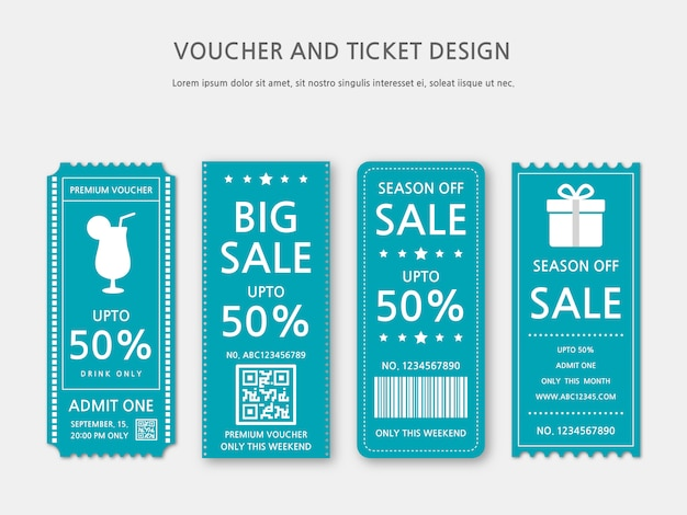 Ticket of voucher sjabloonontwerp