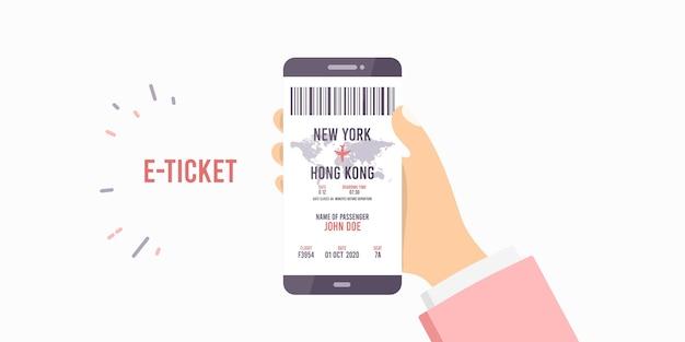 Ticket online smartphone-applicatie. boeking vliegtuig vlucht.