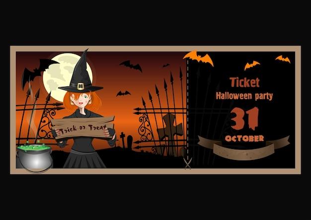 Ticket voor halloween-feest. 31 oktober. halloween-ontwerp met een schattige jonge heks, kerkhof, volle maan, een kokende ketel, volle maan. snoep of je leven. vector illustratie