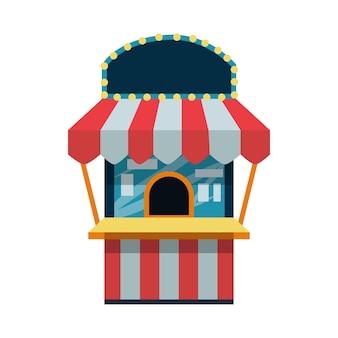 Ticketbureau voor een pretpark circus bioscoop theater platte vectorillustratie geïsoleerd