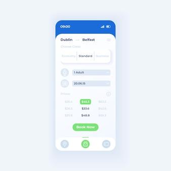 Tickets bestellen applicatie smartphone interface vector sjabloon. mobiele app pagina licht thema ontwerp lay-out. scherm met reisdetails. platte gebruikersinterface voor toepassing. prijslijst op telefoondisplay
