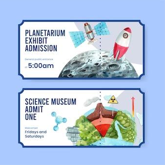 Ticketsjabloon ingesteld met wereld ozon dag concept, aquarel stijl