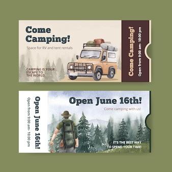 Ticketsjabloon met happy camper-concept