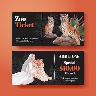 Ticketsjabloon met internationaal tijgerdagconcept, aquarelstijl