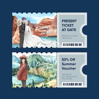 Ticketsjabloon met nationale parken van het concept van de verenigde staten, aquarelstijl