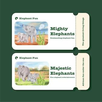 Ticketsjabloon met olifant funning-concept, aquarelstijl