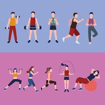 Tien fitness personen