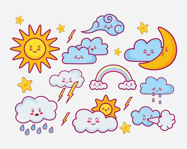 Tien kawaii wolken karakters