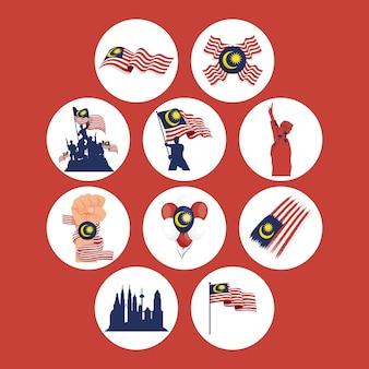 Tien merdeka viering set iconen